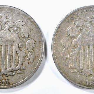 1876 F, 74 VG SHIELD NICKELS