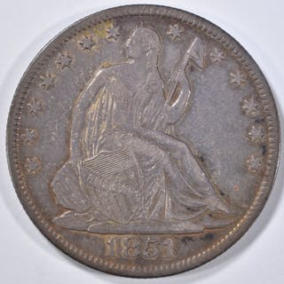 1851-O SEATED HALF DOLLAR AU