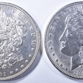 1897 & 1881-O MORGAN DOLLARS BU