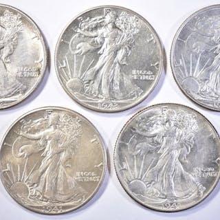 (5) WALKING LIBERTY HALF DOLLARS (2) 1941