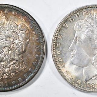 1881-S & 1887 CH BU MORGAN DOLLARS WITH COLOR