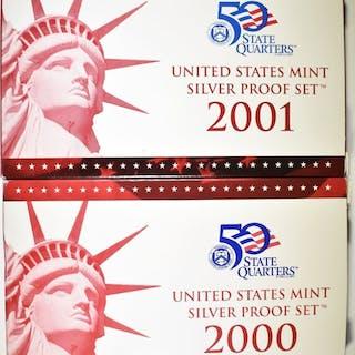 2000 & 2001 U.S. SILVER PROOF SETS ORIG BOXES/COA