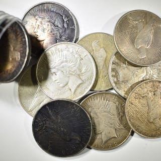 ROLL OR 20-CIRC 1922 PEACE DOLLARS VARIOUS GRADES