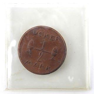 1921 German Brown Porcelain Coin 1/2 Mark Prenzlau