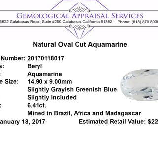 6.41 ct.Natural Oval Cut Aquamarine