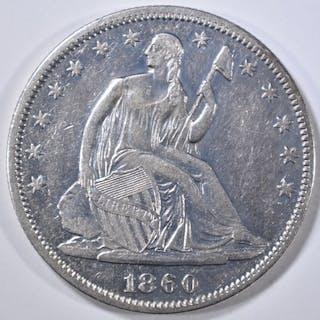 1860 SEATED LIBERTY HALF DOLLAR AU