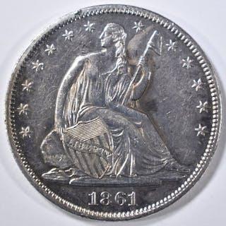 1861 SEATED LIBERTY HALF DOLLAR BU