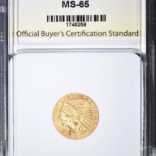 1929 $2.50 GOLD INDIAN, OBCS GEM BU