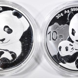 2-2019 CHINESE SILVER PANDA COINS IN ORIG CAPSULES