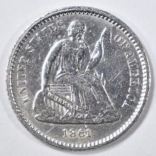 1861 SEATED LIBERTY HALF DIME AU/BU