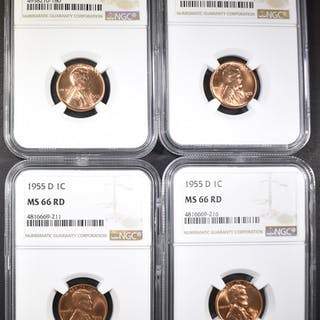 2-1955-D & 2-55-S LINCOLN CENTS, NGC MS-66 RED