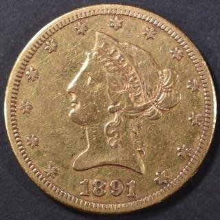 1891-CC $10 GOLD LIBERTY XF