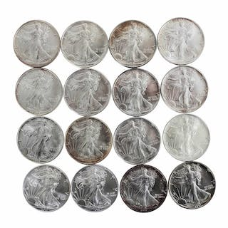 Lot of (16) Brilliant Uncirculated Mixed Date $1 American Silver Eagle Coins