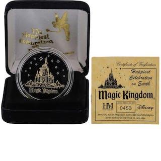 Limited Edition Disney Magic Kingdom .999 Fine Silver Medal w/ 24K