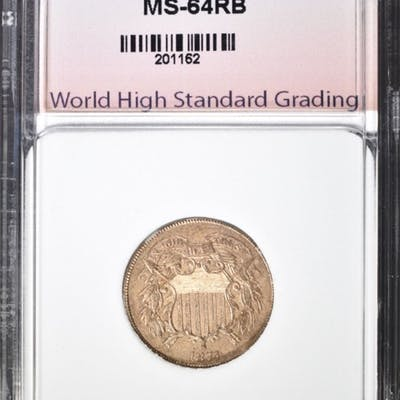 1871 2 CENT PIECE WHSG CH BU RB