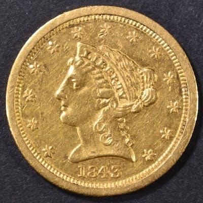 1843-O $2.5 GOLD SMALL DATE LIBERTY HEAD BU