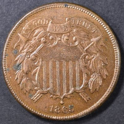 1865 2 CENT CH BU RB