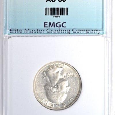 1935-S WASHINGTON QUARTER, EMGC AU