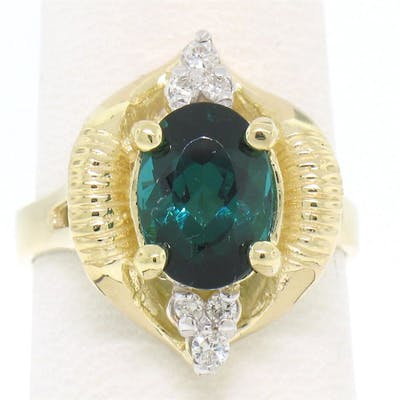 14k Yellow Gold 2.41 ctw Green Blue Oval UNIQUE Tourmaline & Diamond