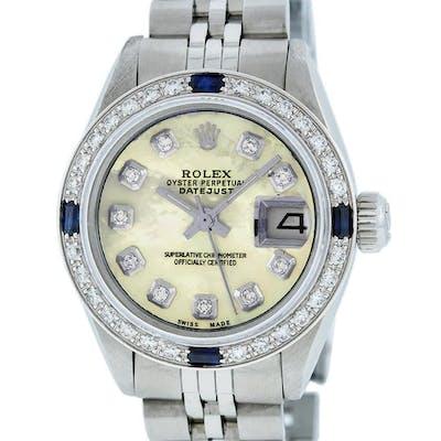 Rolex Ladies Stainless Steel Yellow MOP Diamond & Sapphire Datejust Wristwatch