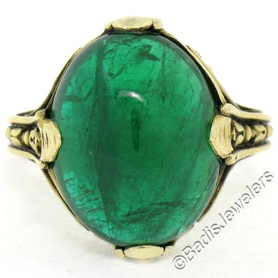 ad9093e28d134 14K Yellow Gold 10.03 ctw GIA Oval Cabochon VERY Fine Green Emerald ...