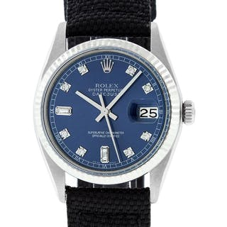 Rolex Mens Stainless Steel Blue Diamond 36MM Datejust Wristwatch With