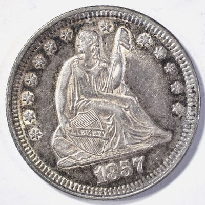 1857 SEATED LIBERTY QUARTER CH BU NICE!!