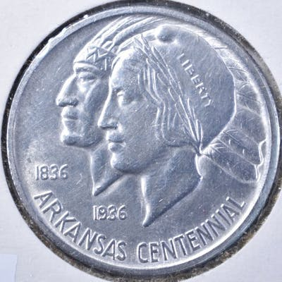 1935 ARKANSAS COMMEM HALF DOLLAR, GEM BU