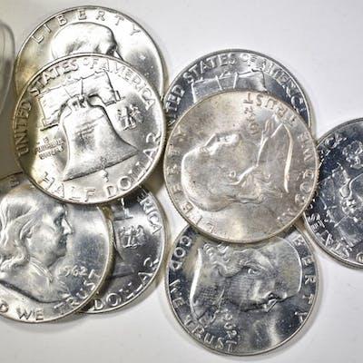 BU ROLL OF 1962-D FRANKLIN HALF DOLLARS