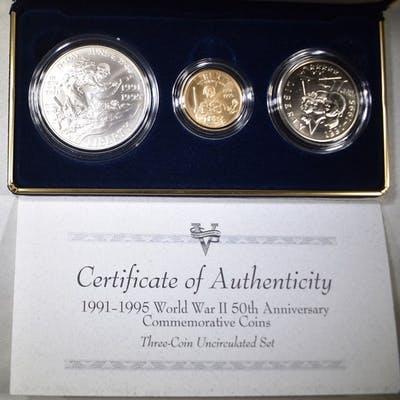 1993 WORLD WAR II 50TH ANNIV 3-COIN UNC SET