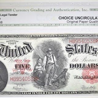 1907 $5 LEGAL TENDER CGA CH UNC OPQ