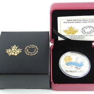 .9999 Fine Silver $20.00 Coin 'Lake Ontario' LE/C.