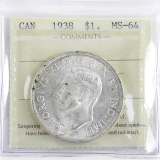 (VAL03/C) 1938 Silver Dollar MS64. ICCS. (IER)