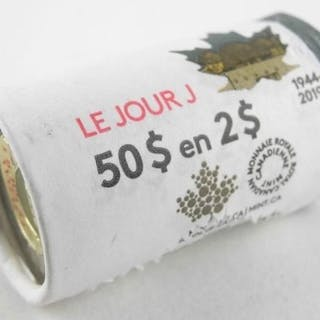 2019 2.00 D-Day Special Wrap Roll - 25 Coins, Colo