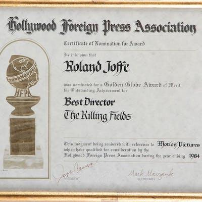 Roland Joffé storyboads, festival award, and crew photos for The Killing