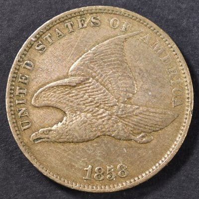 1858 FLYING EAGLE CENT AU OLD CLEANING