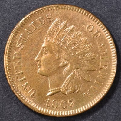 1867 INDIAN CENT CH/GEM UNC