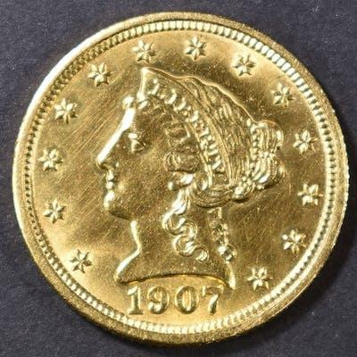 1907 $2.5 GOLD LIBERTY HEAD CH/GEM BU