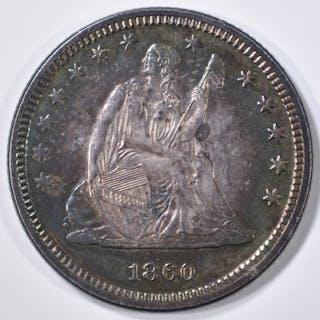 1860 SEATED QUARTER CH BU COLOR