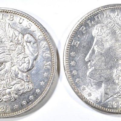 1921-D AU/BU & 21-S CH BU MORGAN DOLLARS