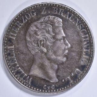 1838 GERMAN STATES BRUNSWICK-WOLFENBUTTEL THALER