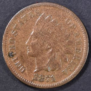 1871 INDIAN CENT VG/F