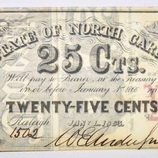 1863 25 CENT STATE OF NORTH CAROLINA