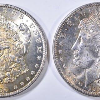 2 1890 MORGAN DOLLARS CH BU COLOR