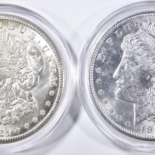 1921-D&S CH BU MORGAN DOLLARS IN PLASTIC CAPSULES