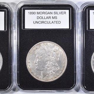 1889, 1890 & 1890-S UNC MORGAN DOLLARS