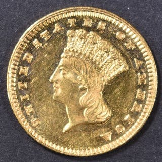 1885 $1 GOLD INDIAN PRINCESS CH BU PL