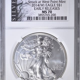 2014-(W) SILVER EAGLE NGC MS-70 EARLY RELEASES