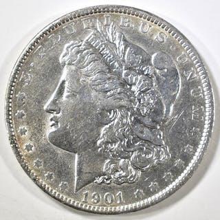 1901 MORGAN DOLLAR CH AU CLEANED