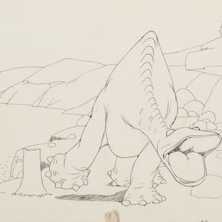 Winsor McCay production drawing of 'Gertie the Dinosaur'.